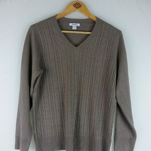 Hampshire Studio Womens Taupe Soft  Cable Sweater